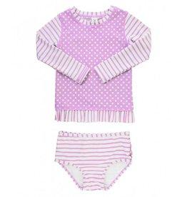 RuffleButts Lilac Striped Polka Long Sleeve Bikini