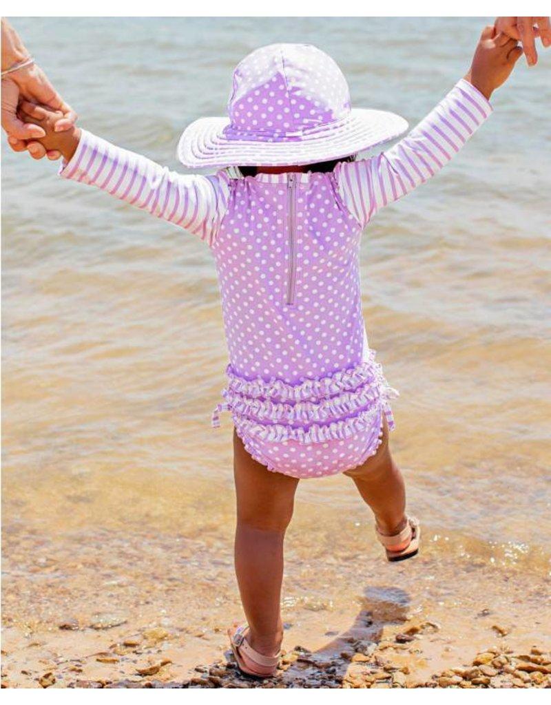 RuffleButts Lilac Polka Dot One Piece