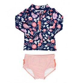 RuffleButts Botanical Beach Long Sleeve Zipper Bikini