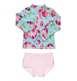 RuffleButts Life is Rosy Long Sleeve Zipper Bikini