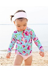 RuffleButts Life is Rosy Long Sleeve Zipper Bikini