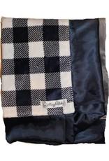 Navy Plaid Double Plush Blanket