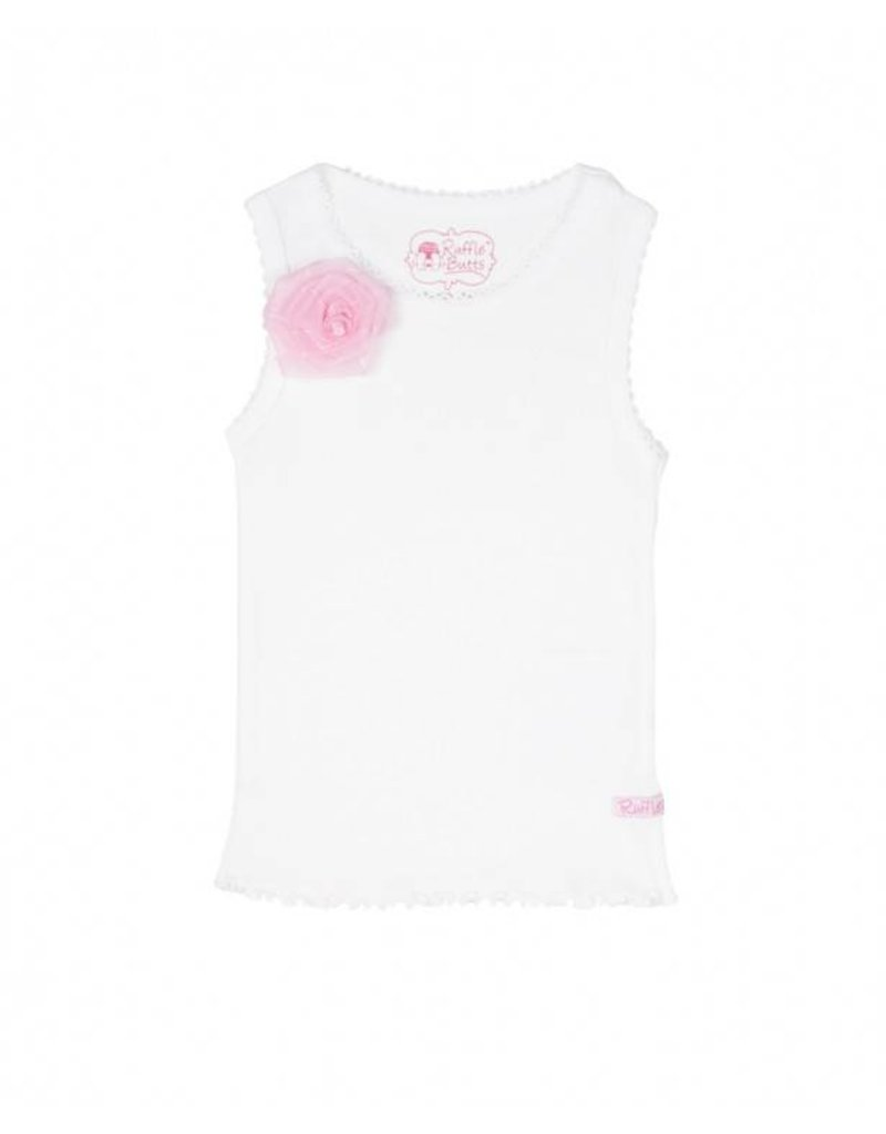RuffleButts White with Pink Flower Tank Top