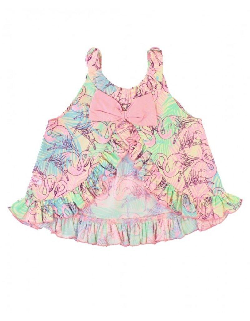 RuffleButts Lets Flamingle Knit Swing Top