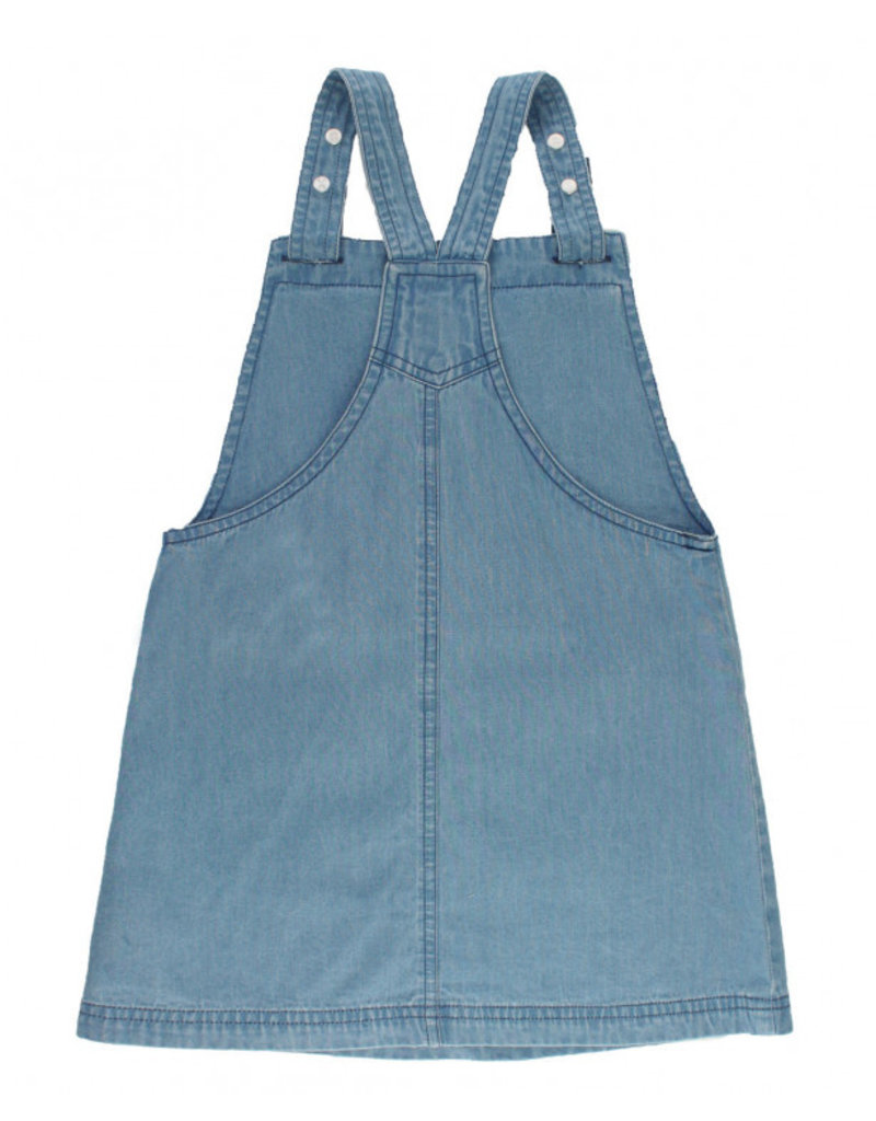 RuffleButts Light Wash Denim Jumper Dress