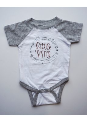 Tracy's Treasures Rose Gold and Gray Little Sister Shirt