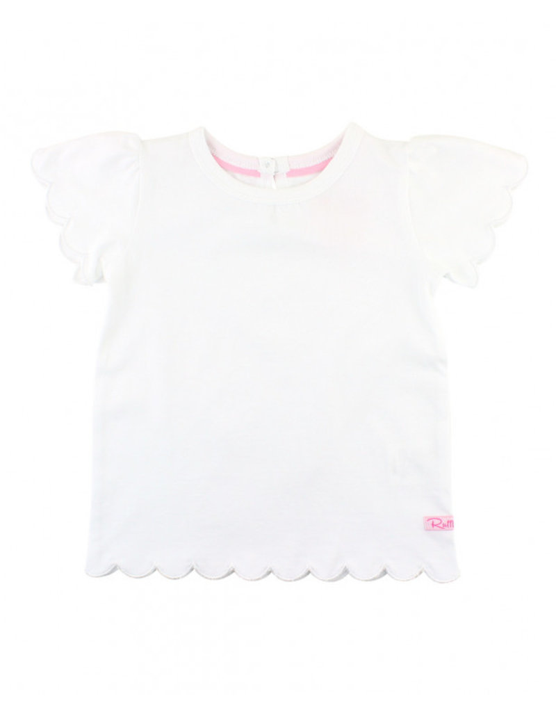 RuffleButts White Scallop Tee