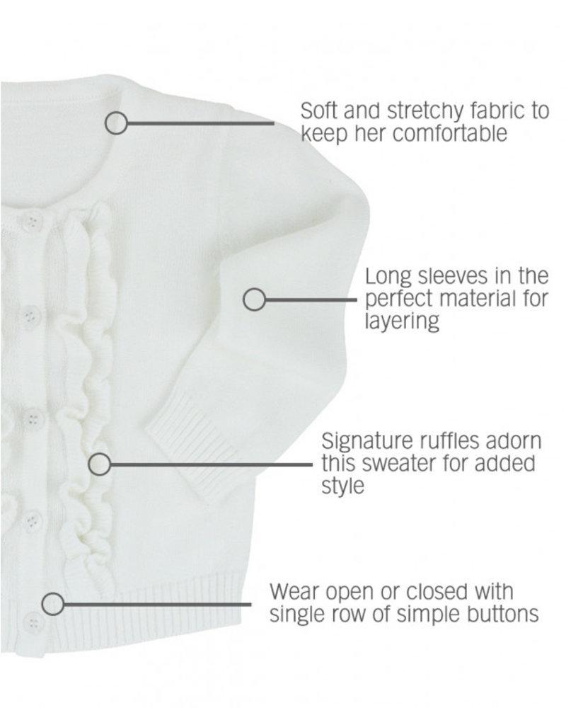 RuffleButts White Ruffled Cardigan
