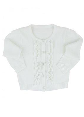 RuffleButts White Ruffled Cardigan Infant