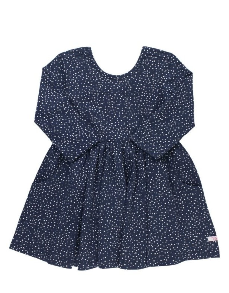 RuffleButts Navy Dots Twirl Dress