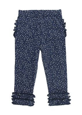RuffleButts Navy Dot Ruffle Leggings