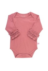 RuffleButts Mauve Ruffled Long Sleeve Onesie