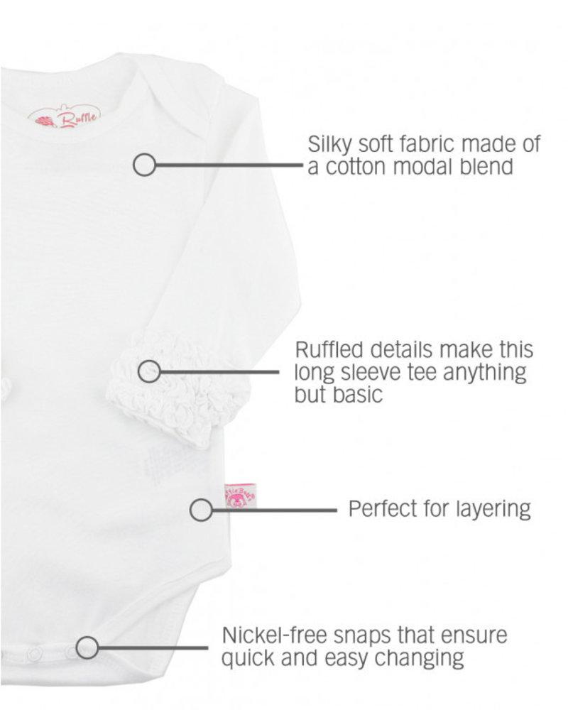 RuffleButts White Ruffled Long Sleeve Onesie