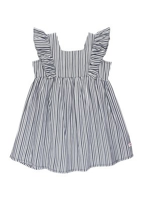 RuffleButts Navy Stripe Ruffle Dress Toddler