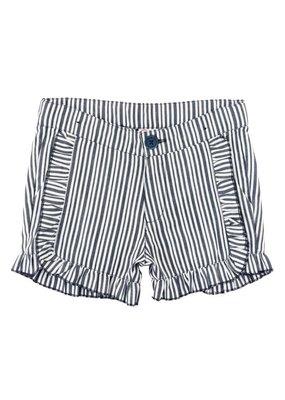 RuffleButts Navy Stripe Ruffle Trim Shorts Toddler