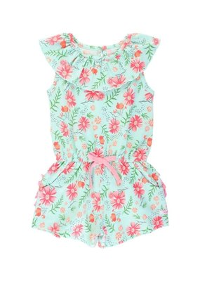 RuffleButts Running in Wildflowers Ruffle Neck Romper