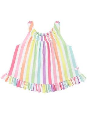 RuffleButts Rainbow Stripe Knit Ruffle Swing Top