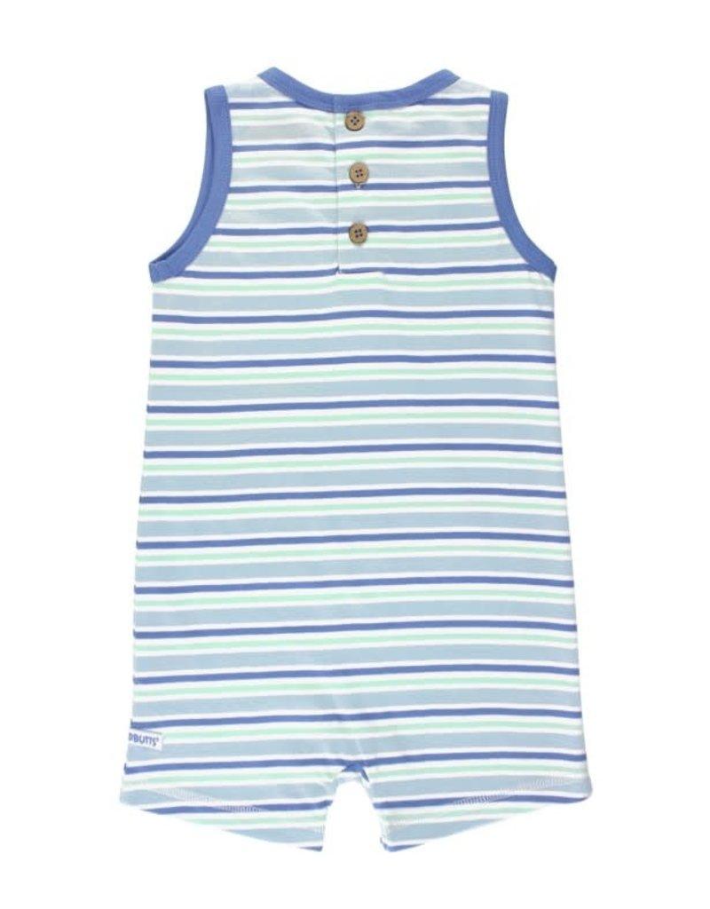 RuggedButts Blue & Neo Mint Stripe Romper