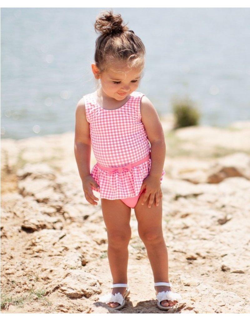RuffleButts Rose Gingham Skirted One Piece Infant