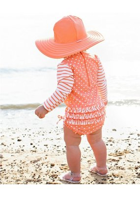 RuffleButts Coral Polka One Piece Rash Guard Infant
