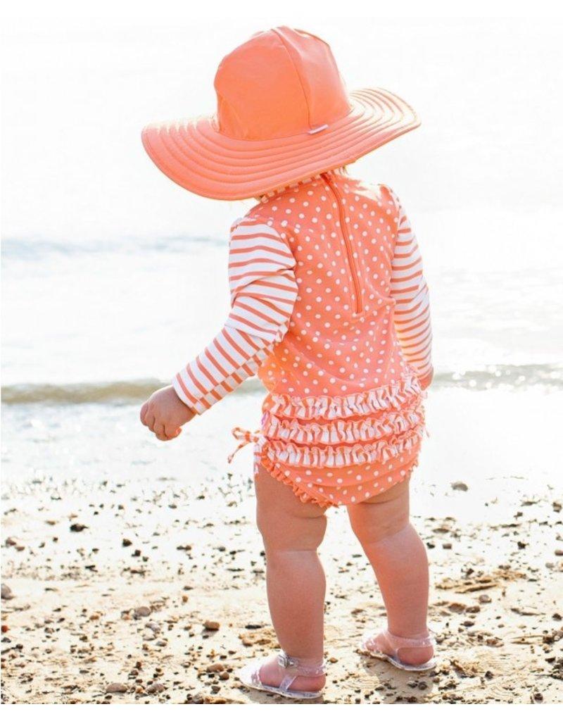 RuffleButts Coral Polka One Piece Rash Guard Infant