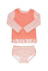 RuffleButts Coral Stripe Polka Long Sleeve Rash Guard Bikini Toddler