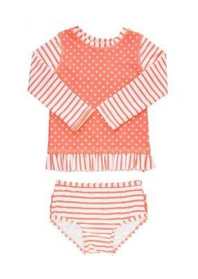 RuffleButts Coral Stripe Polka Long Sleeve Rash Guard Bikini Toddler