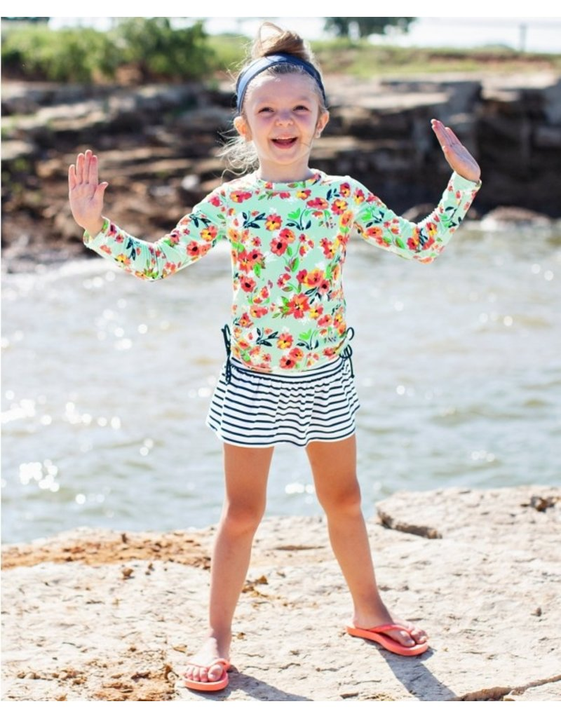 RuffleButts Painted Flowers Long Sleeve Rashguard Skirted Bikini