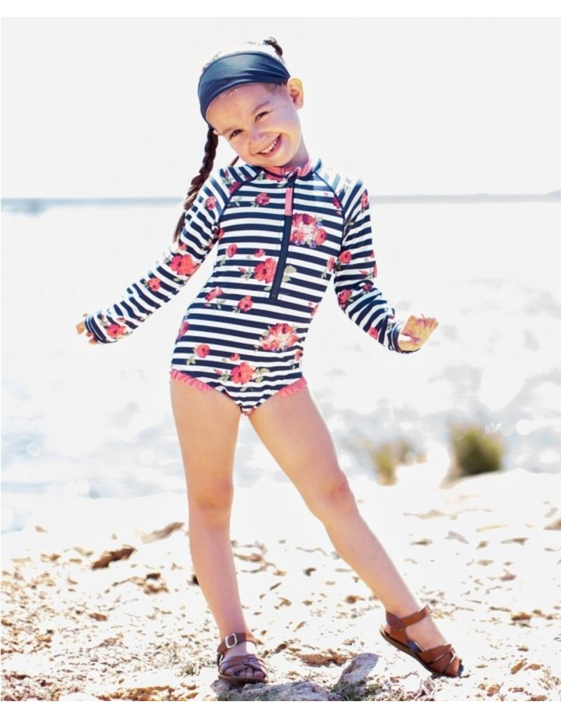 RuffleButts Girls Rosy Floral Stripe Long Sleeve One Piece Rashguard