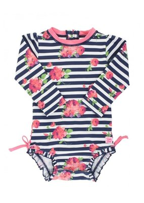 RuffleButts Infant Rosy Floral Stripe One Piece Rashguard