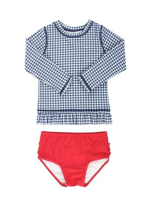 RuffleButts Navy Gingham Long Sleeve Rashguard Bikini Toddler