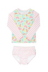 RuffleButts Squeeze The Day Stripe Long Sleeve Rashguard Bikini Toddler