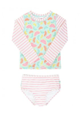 RuffleButts Squeeze The Day Stripe Long Sleeve Rashguard Bikini Toddler
