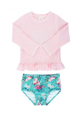 RuffleButts Pink Seersucker Floral Long Sleeve Rashguard Bikini