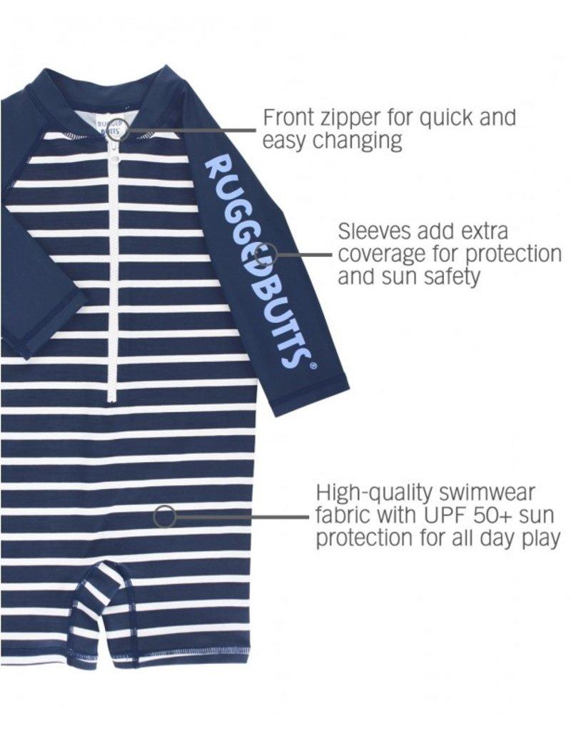 Navy Stripe One Piece Rash Guard