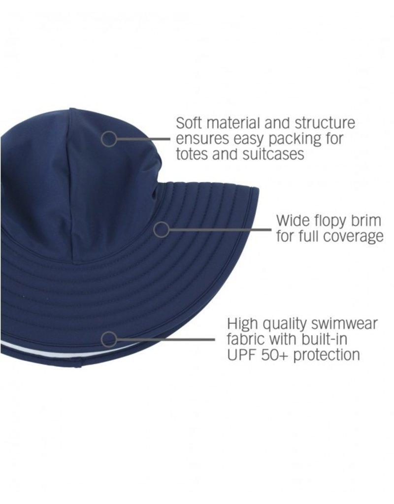 RuffleButts Navy Swim Hat  6-10