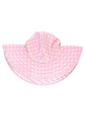 RuffleButts Pink Polka and Stripe Reversible Swim Hat 0-12 months