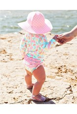 RuffleButts Pink Polka and Stripe Reversible Swim Hat 3T-5