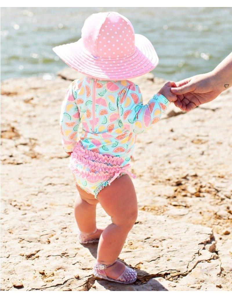 RuffleButts Pink Polka and Stripe Reversible Swim Hat 3T-5