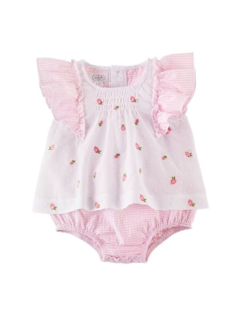 MudPie Rosette Embroidered Overlay Crawler