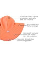 RuffleButts Coral Stripe Reversible Swim Hat  3T-5