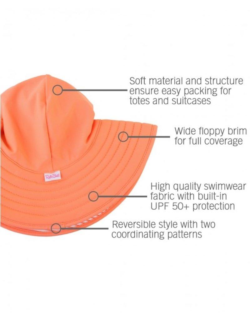 RuffleButts Coral Stripe Reversible Swim Hat  12m-2T