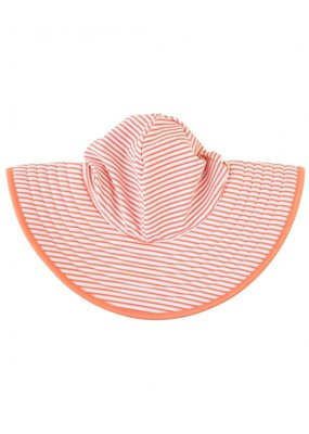 RuffleButts Coral Stripe Reversible Swim Hat 0-12 months