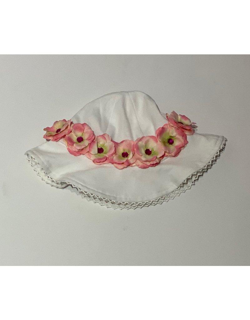 Stella Sun Hat with Mini Rose Crown Pink