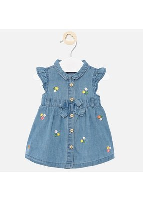 Mayoral Denim Dress with Flowers