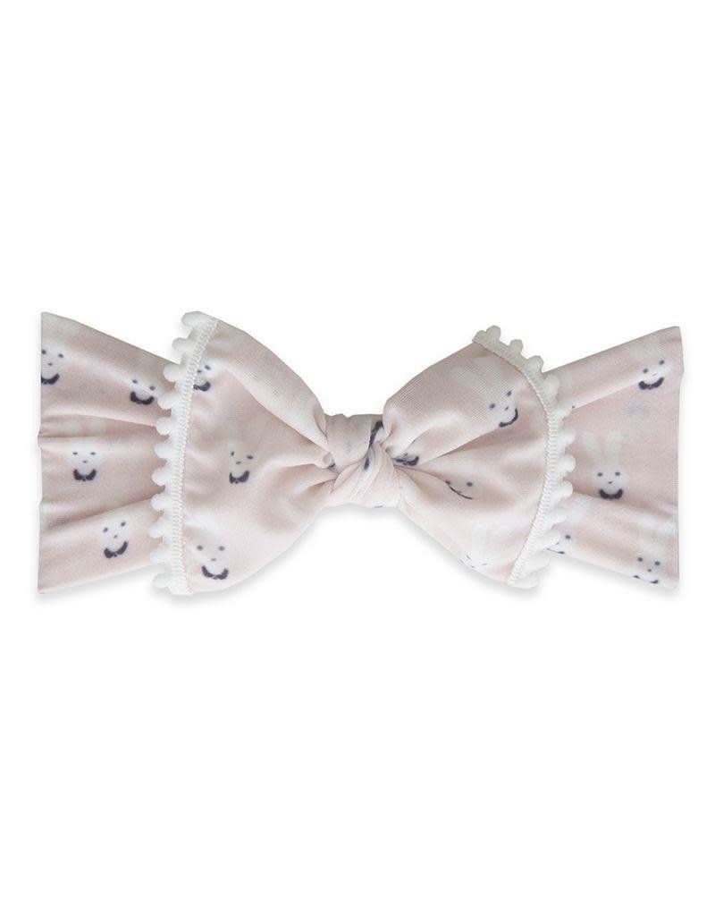 Baby Bling Trimmed Printed Knot  Bunny White Pom