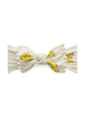 Baby Bling Trimmed Printed Knot  Chicks and Ivory Pom