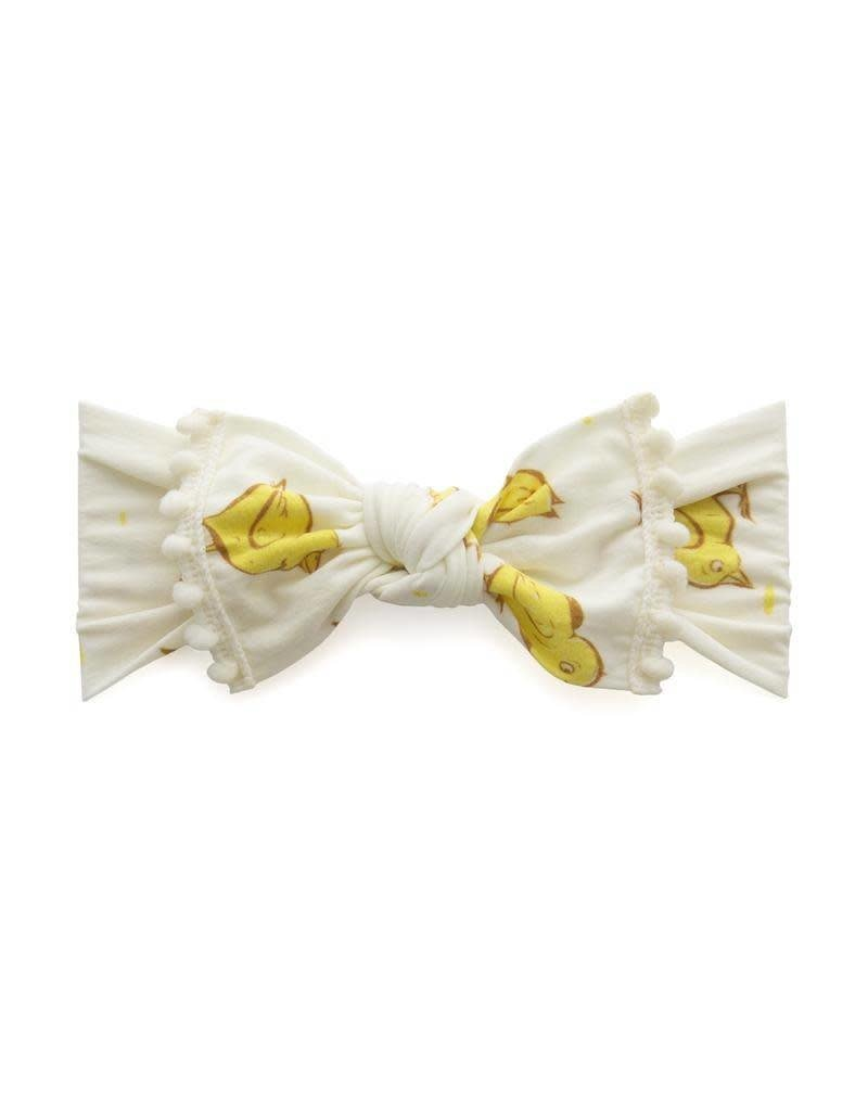 Trimmed Printed Knot  Chicks and Ivory Pom