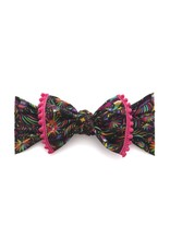 Baby Bling Trimmed Printed Knot Cinco Bird Hot Pink Pom