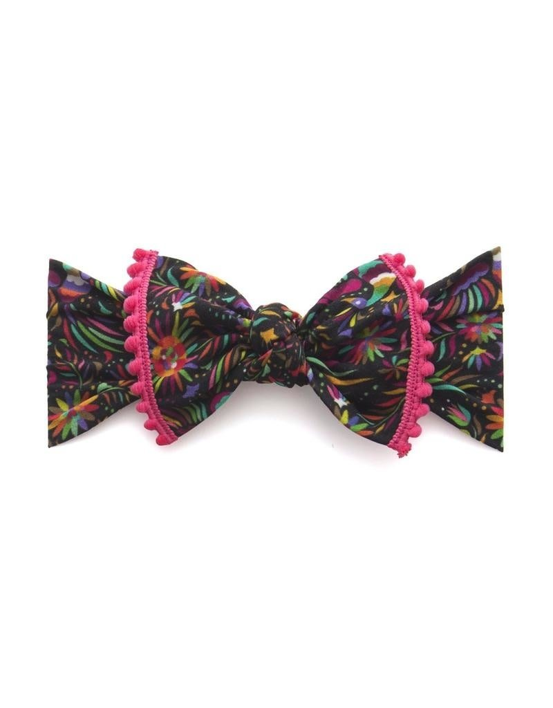 Trimmed Printed Knot Cinco Bird Hot Pink Pom